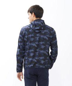 Mặt sau áo gió nam rằn ri xanh biển Uniqlo Nhật Bản