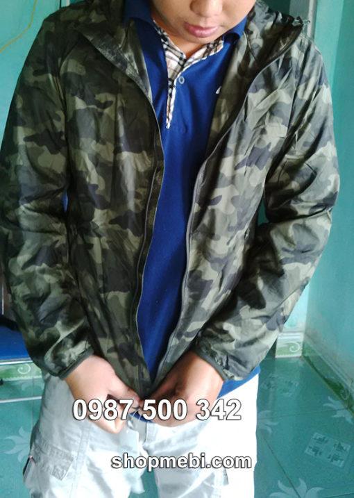 Ảnh thật áo gió nam rằn ri xanh rêu Uniqlo Nhật Bản