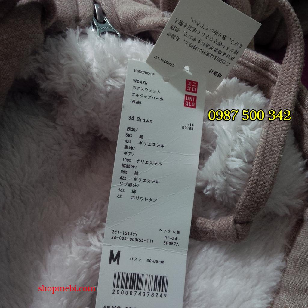Áo nỉ lót lông cừu Uniqlo màu be