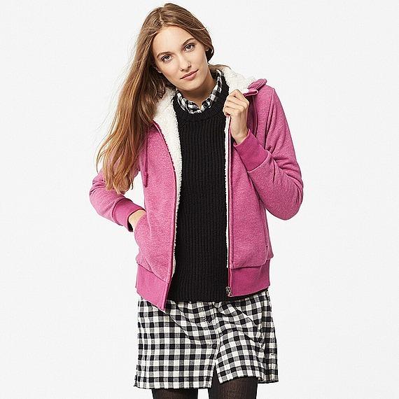 Áo nỉ lót lông cừu Uniqlo màu hồng