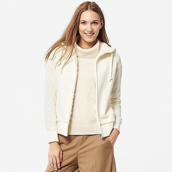 Áo nỉ lót lông cừu Uniqlo màu trắng