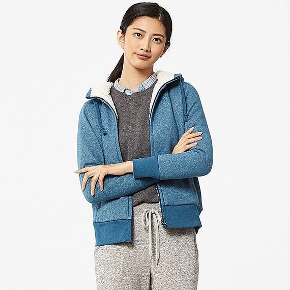 Áo nỉ lót lông cừu Uniqlo màu xanh dương