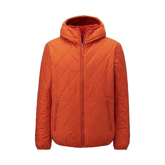 Áo trần trám lót lông cừu Uniqlo cho nam màu cam gạch