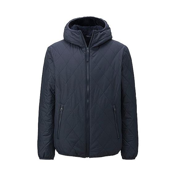 Áo trần trám lót lông cừu Uniqlo cho nam màu xanh đen(navy)