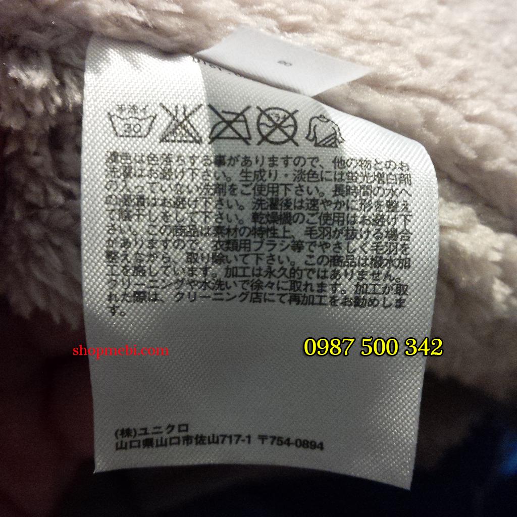 Tem mác chuẩn của áo trần trám lót lông cừu Uniqlo