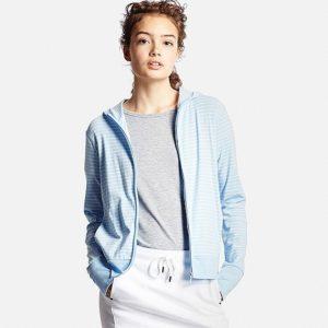 Áo chống nắng Uniqlo 2016 họa tiết kẻ xanh da trời 61 blue