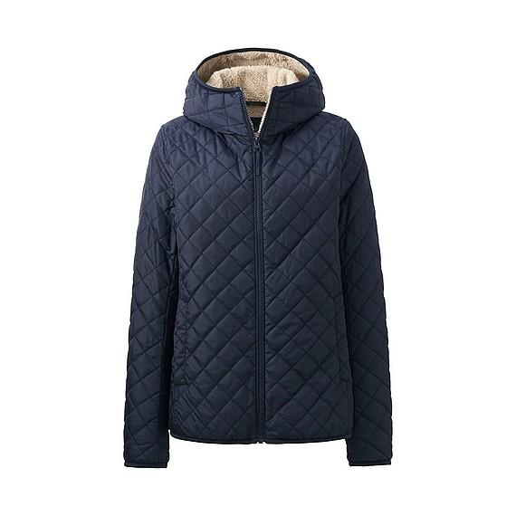 Áo trần trám lót lông cừu Uniqlo nữ màu xanh navy mẫu 2016