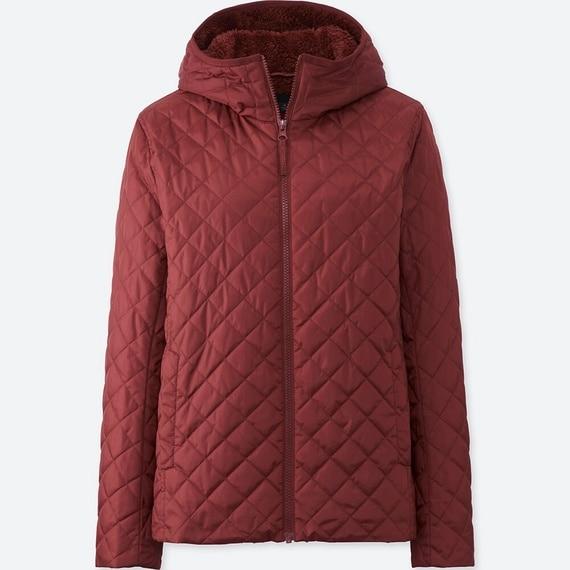 Áo trần trám lót lông cừu Uniqlo màu đỏ mận