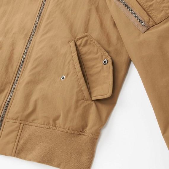 Túi ngoài áo bomber Uniqlo màu nâu