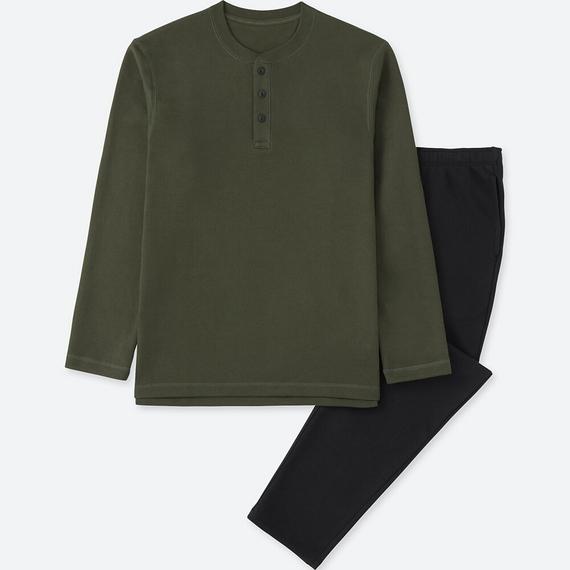 Bộ đồ mặc nhà Uniqlo cho nam chất thun da cá màu xanh rêu