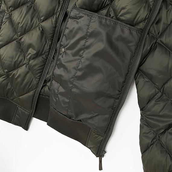Áo bomber lông vũ Uniqlo nam màu xanh rêu 58 Olive - túi áo