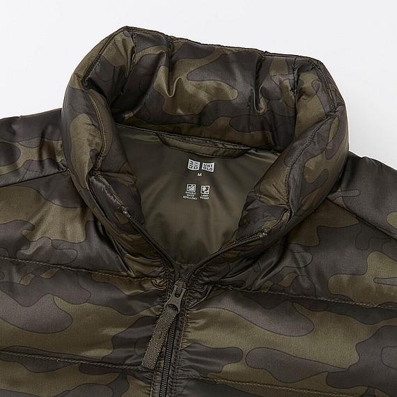 Áo lông vũ nam Uniqlo họa tiết rằn ri xanh rêu- cổ áo cao, ấm