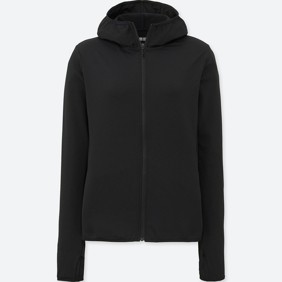 Áo chống nắng chất thun lạnh Uniqlo AiRism 2018 màu đen 09 Black