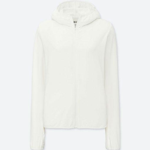 Áo chống nắng chất thun lạnh Uniqlo AiRism 2018 màu trắng 00 White