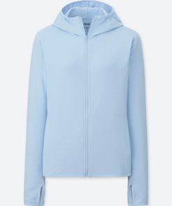 Áo chống nắng chất thun lạnh Uniqlo AiRism 2018 màu xanh da trời 60 light blue