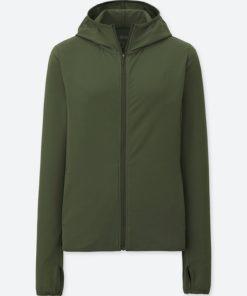 Áo chống nắng chất thun lạnh Uniqlo AiRism 2018 màu xanh rêu 57 Olive