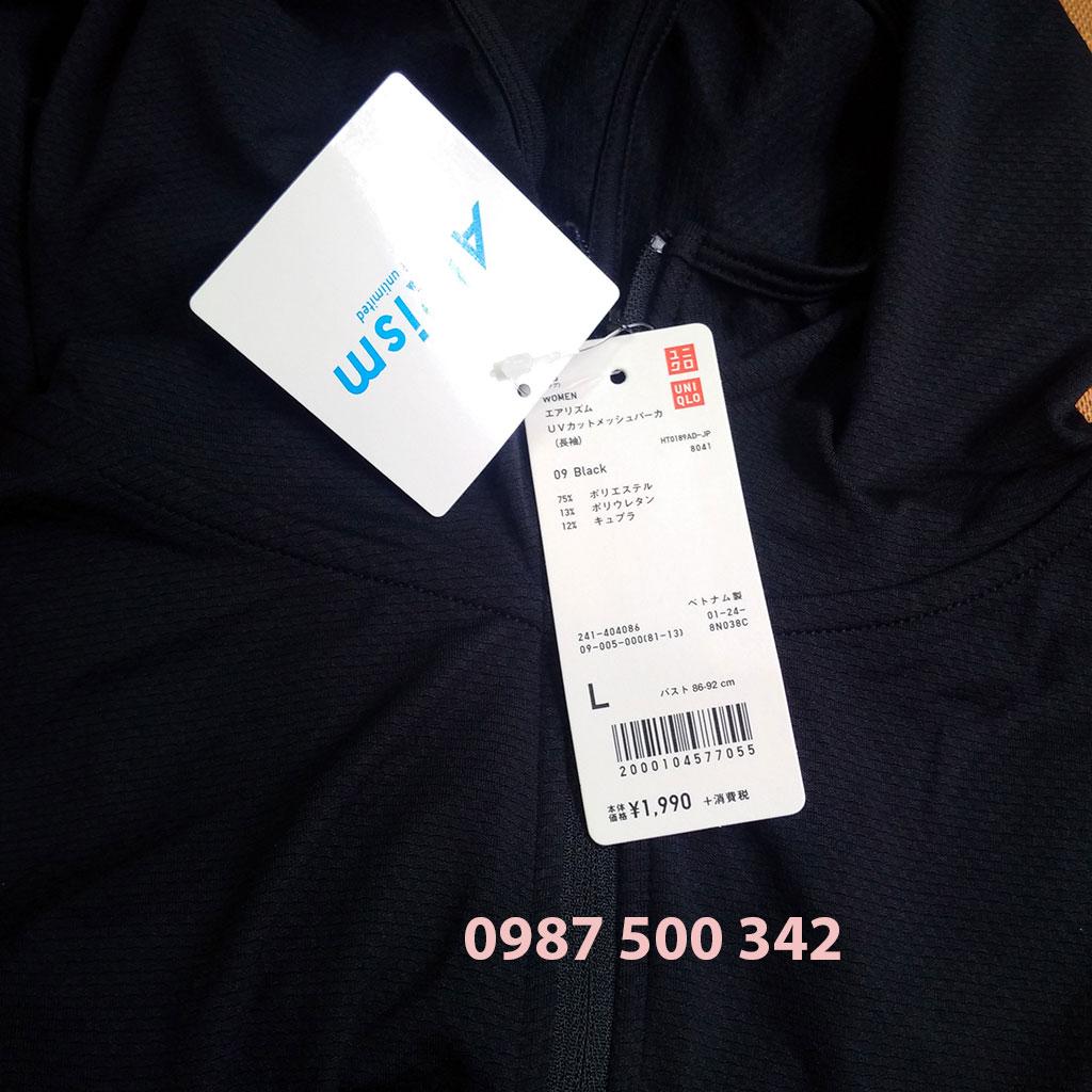 Ảnh thật áo chống nắng làm mát Uniqlo AiRism 2018 màu đen 09 black