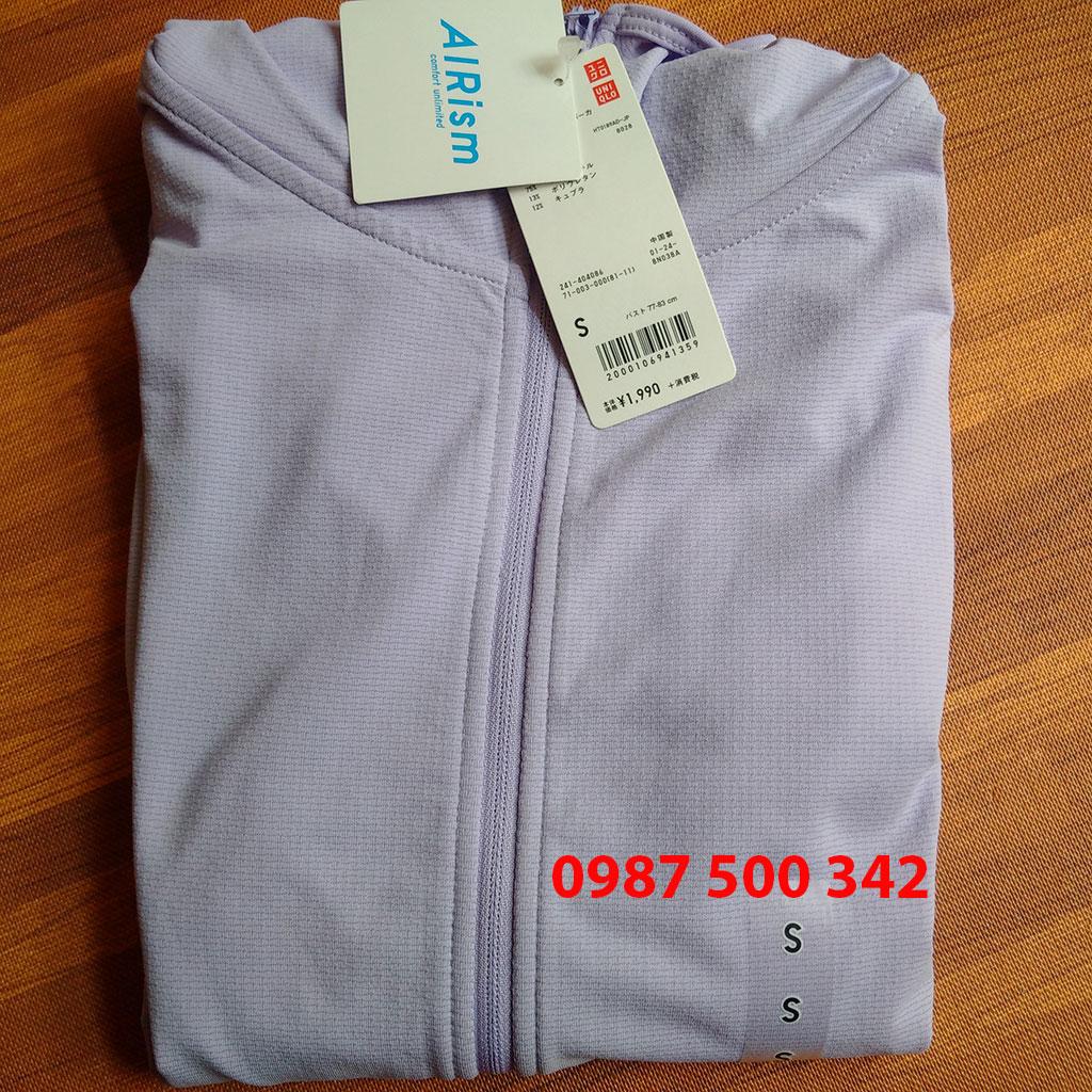 Áo chống nắng làm mát Uniqlo AiRism 2018 màu tím nhạt 71 Purple