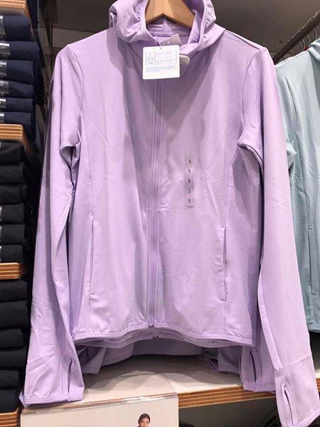 Ảnh thật áo chống nắng thun lạnh Uniqlo 2018 màu tím nhạt 71 Purple
