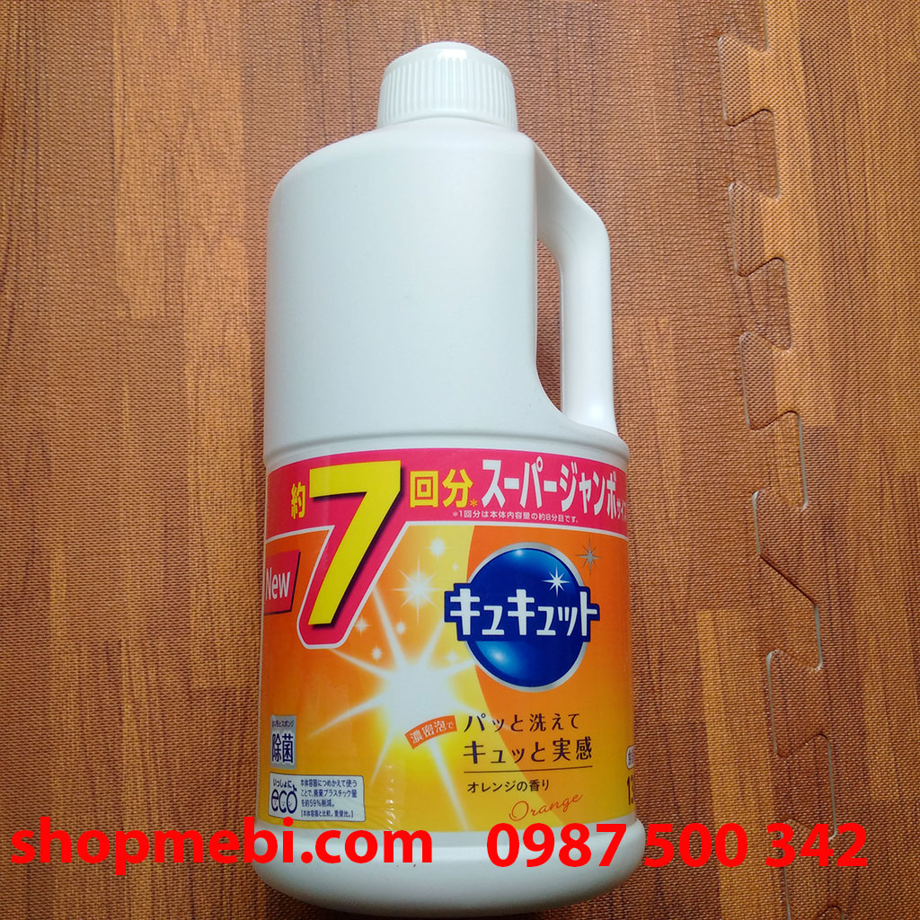 Nước rửa bát Kao Kyukyuto Nhật Bản chai 1380ml mùi cam