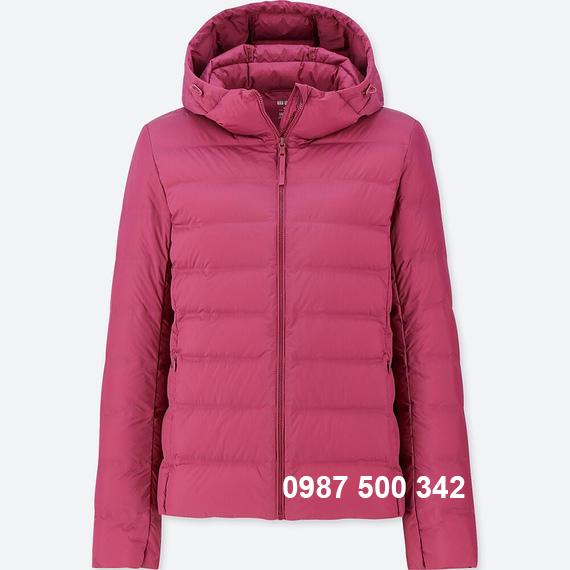 Áo lông vũ Uniqlo 2018 nữ có mũ màu tím hồng 76 PURPLE