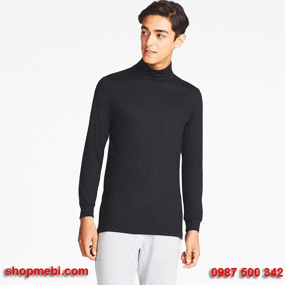 Áo giữ nhiệt nam Uniqlo heattech áo cổ lọ màu đen 09 black
