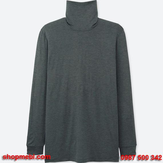 Áo giữ nhiệt nam Uniqlo heattech áo cổ lọ màu ghi xám 08 dark gray