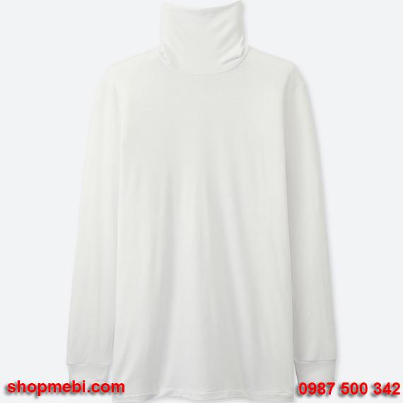 Áo giữ nhiệt nam Uniqlo heattech áo cổ lọ màu trắng 00 white