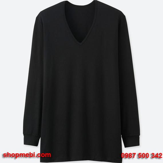 Áo giữ nhiệt nam Uniqlo heattech áo cổ tim màu đen 09 black