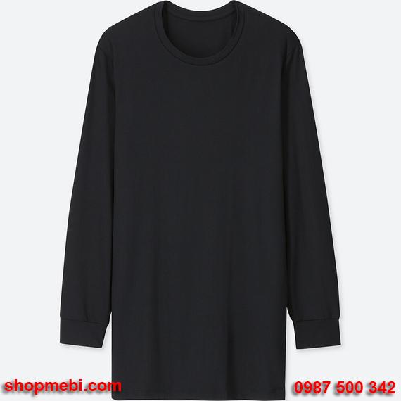 Áo giữ nhiệt nam Uniqlo heattech áo cổ tròn màu đen 09 black