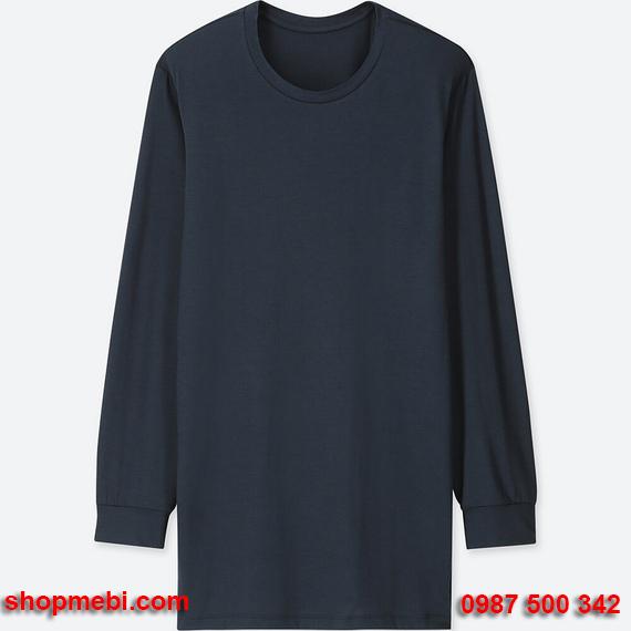 Áo giữ nhiệt nam Uniqlo heattech áo cổ tròn màu xanh đen 69 navy