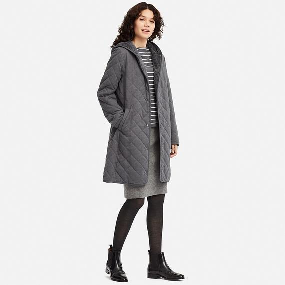 Dáng Áo trần trám lót lông cừu dáng dài Uniqlo màu xám đậm