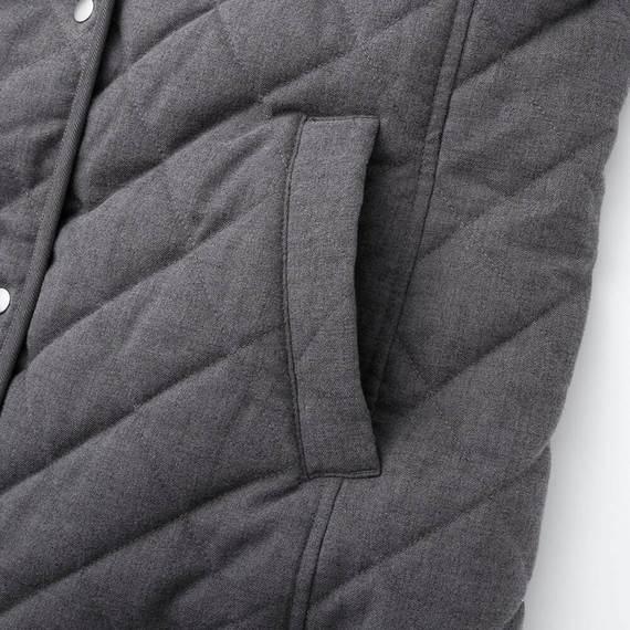 Túi Áo trần trám lót lông cừu dáng dài Uniqlo màu xám đậm