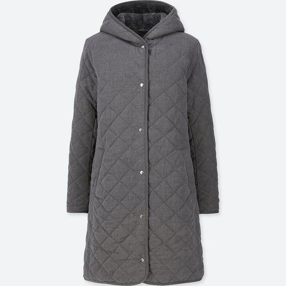 Áo trần trám lót lông cừu dáng dài Uniqlo màu xám đậm 08 Dark Gray