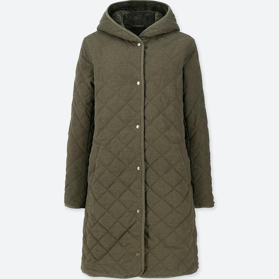 Áo trần trám lót lông cừu dáng dài Uniqlo màu xanh rêu 58 Dark Green