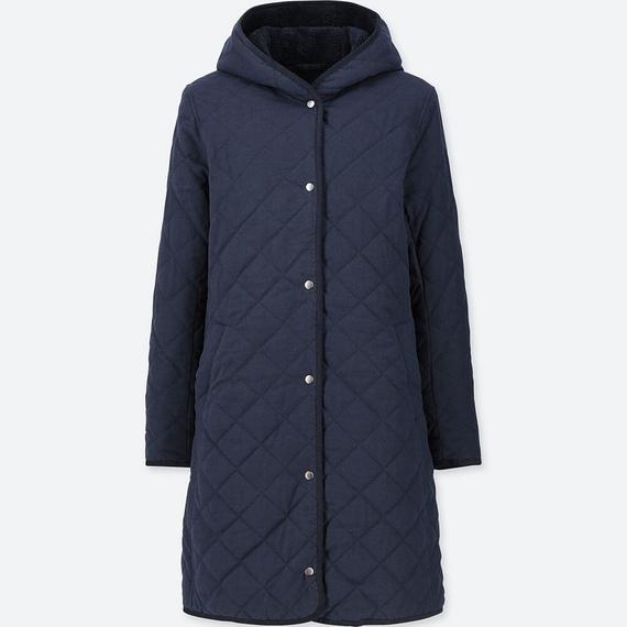 Áo trần trám lót lông cừu dáng dài Uniqlo màu xanh đen 69 Navy