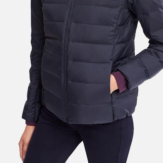 Tay áo và túi áo lông vũ nữ có mũ Uniqlo 2018 màu xanh đen 69 NAVY