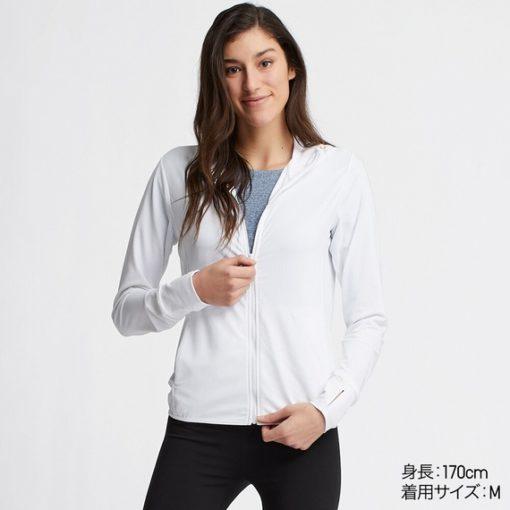 Áo chống nắng Uniqlo AiRism 2019 màu trắng 00 White 00_413363
