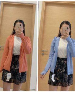 Áo chống nắng Nhật Bản Uniqlo AiRism 2019 màu cam và xanh biển