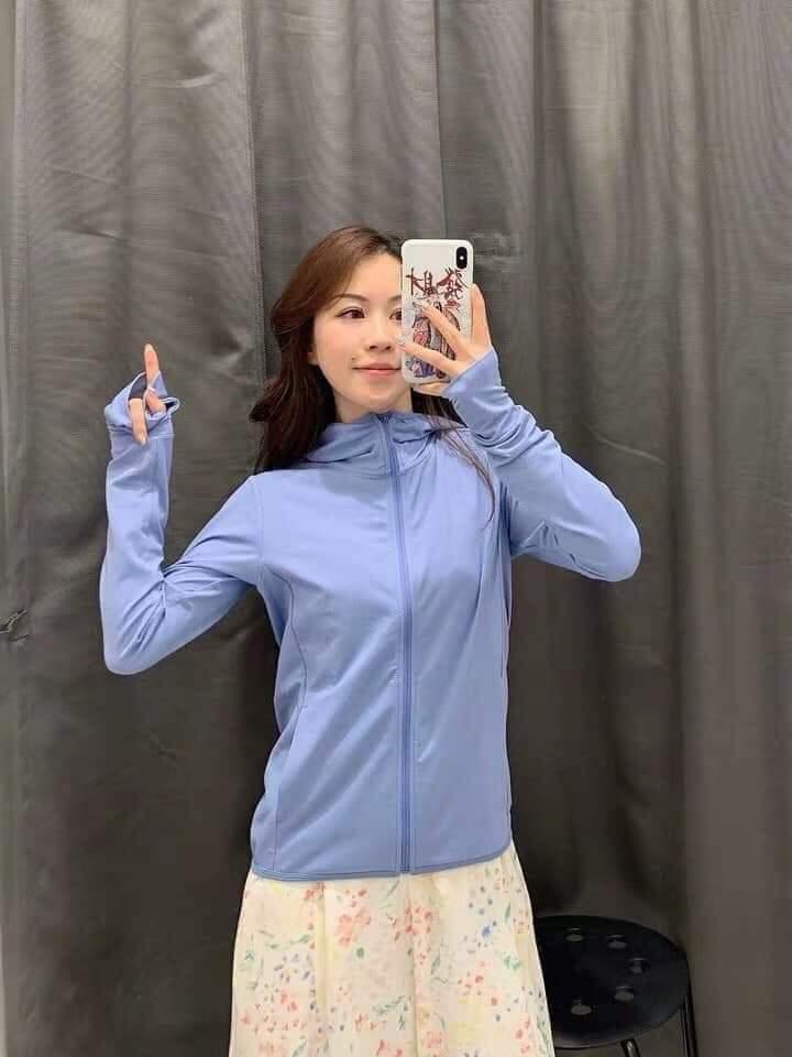 Áo chống nắng Nhật Bản Uniqlo AiRism 2019 màu xanh biển