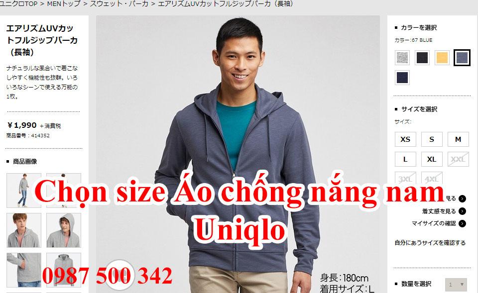 Chọn size áo chống nắng nam Uniqlo