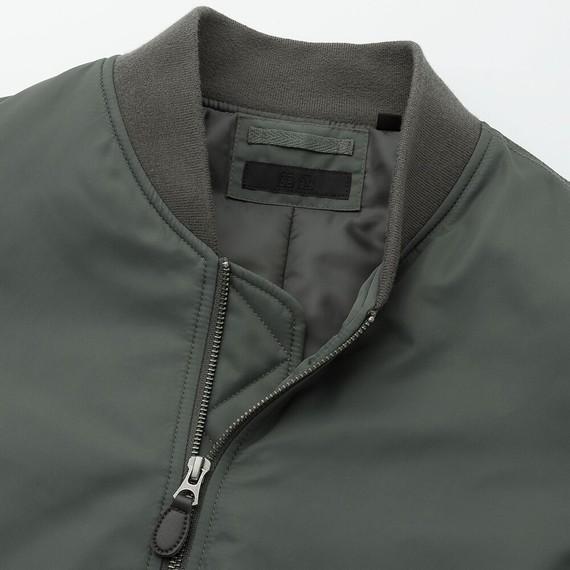 Áo khoác bomber Uniqlo 2019 màu xanh rêu 56 Olive mã 419963 cổ áo