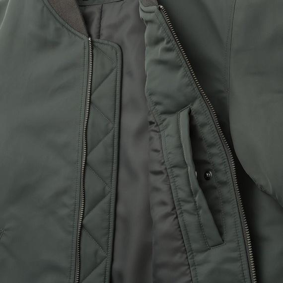 Áo khoác bomber Uniqlo 2019 màu xanh rêu 56 Olive mã 419963 túi áo bên trong, miệng túi nằm ngang