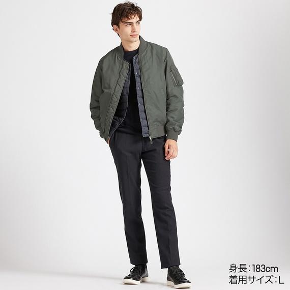 Áo khoác bomber Uniqlo 2019 màu xanh rêu 56 Olive mã 419963 dáng áo