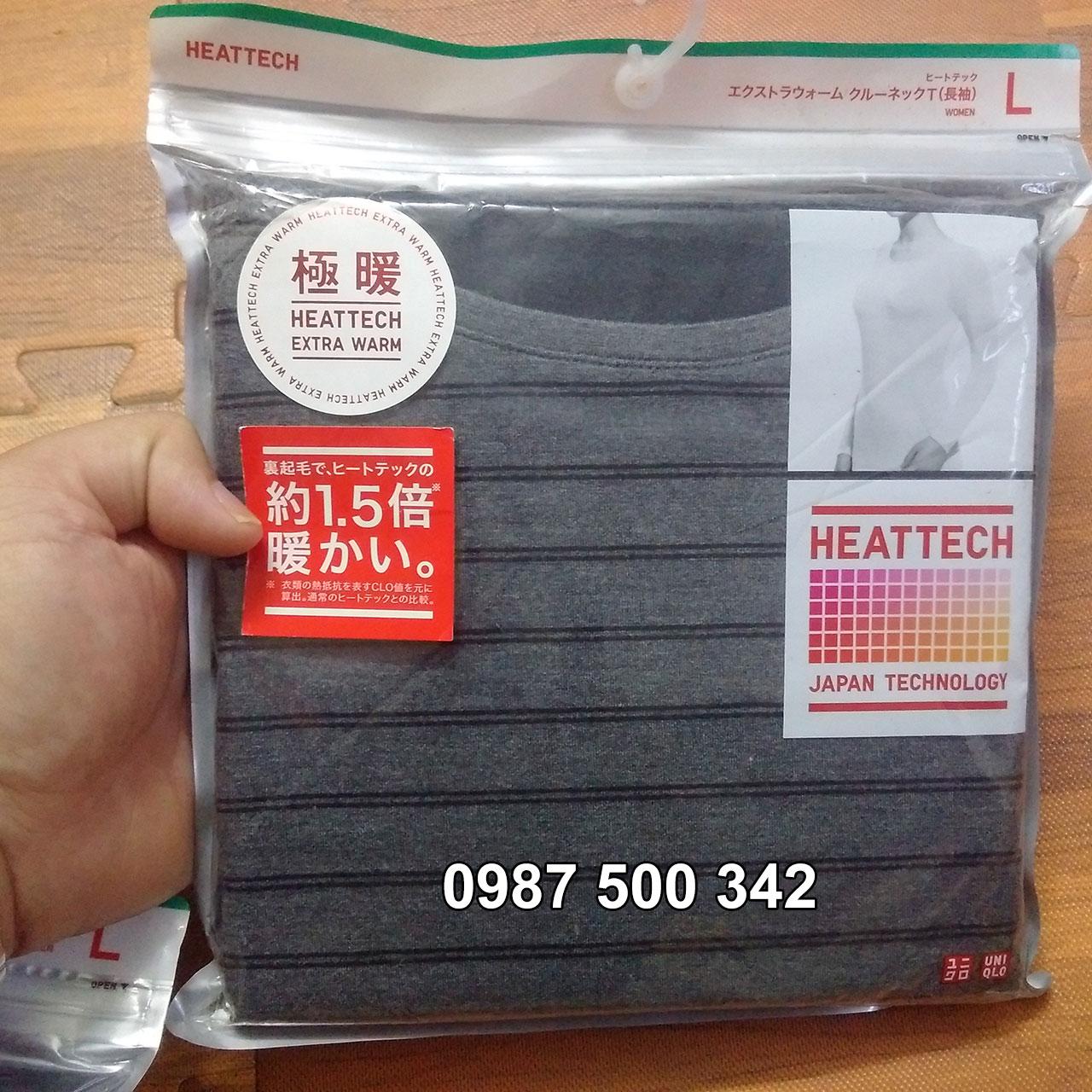 Ảnh thật Áo giữ nhiệt nữ cổ tròn Heattech Extra Warm Uniqlo màu xám kẻ ngang