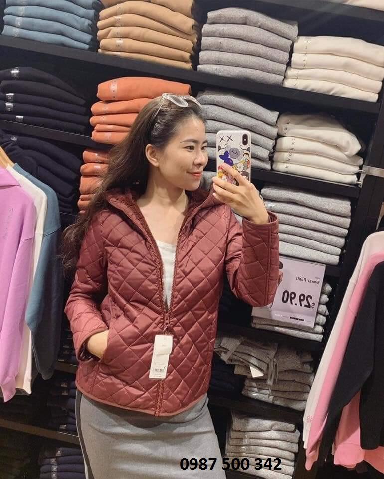 Ảnh thật áo khoác trần trám lót lông cừu Uniqlo 2019 - 2020 mã 420213 màu rượu vang 18 WINE