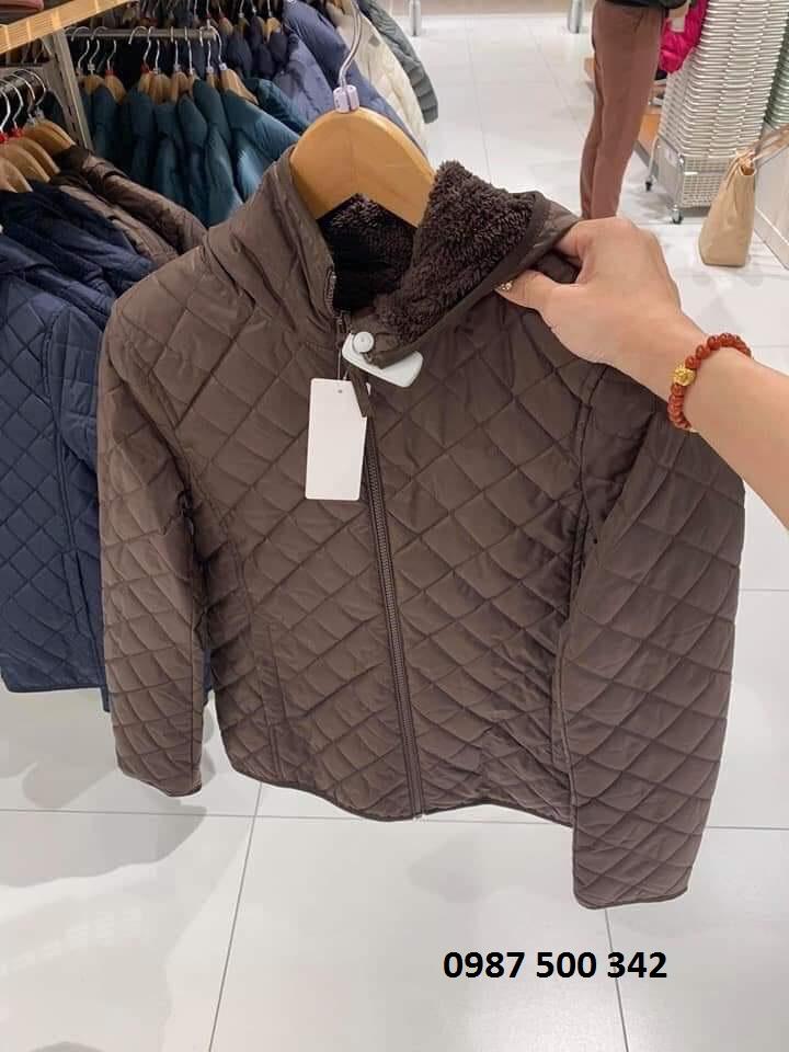 Trên tay áo khoác trần trám lót lông cừu Uniqlo 2019 - 2020 mã 420213 màu nâu đậm 37 BROWN