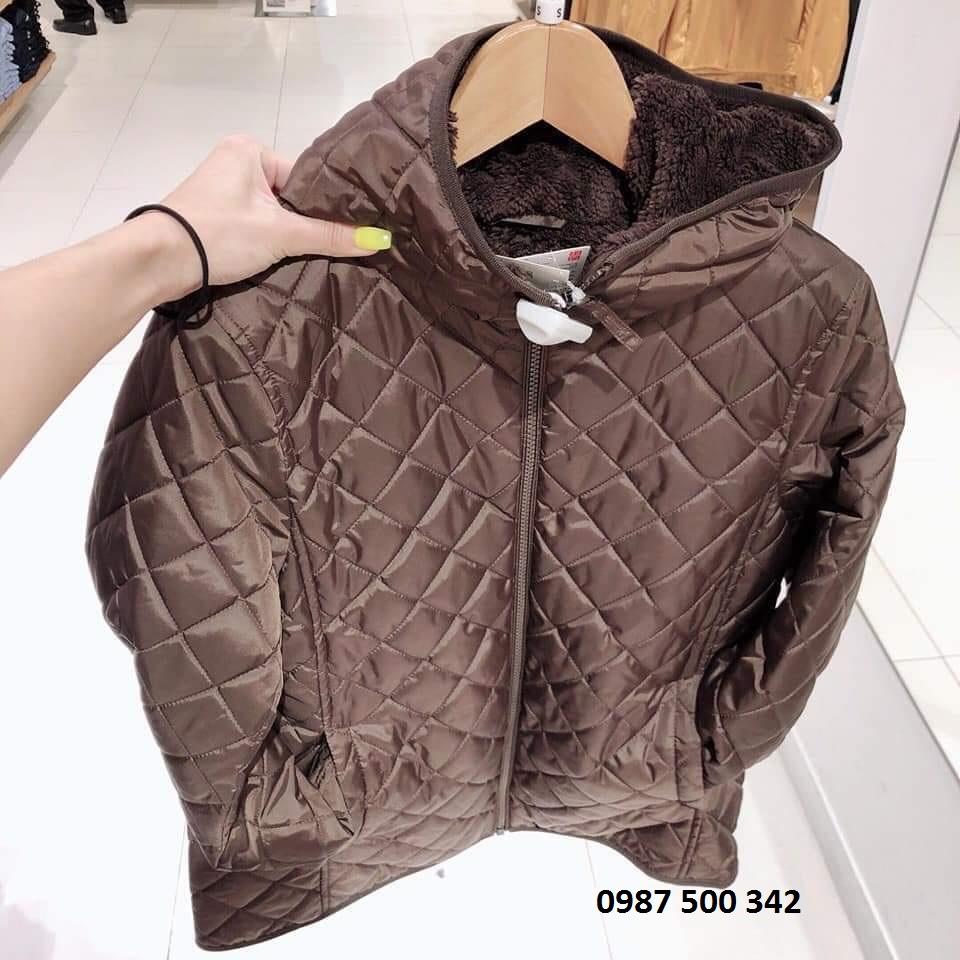 Ảnh thật áo khoác trần trám lót lông cừu Uniqlo 2019 - 2020 mã 420213 màu nâu đậm 37 BROWN