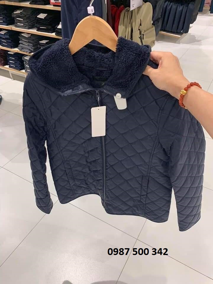 Ảnh thật áo khoác trần trám lót lông cừu Uniqlo 2019 - 2020 mã 420213 màu xanh đen 69 NAVY