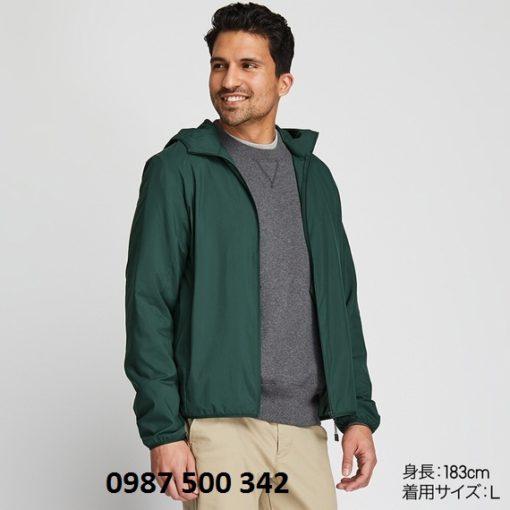 Áo gió nam Nhật Bản Uniqlo màu xanh mạ 58 DARK GREEN